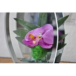 Déco en verre Orchidées LED