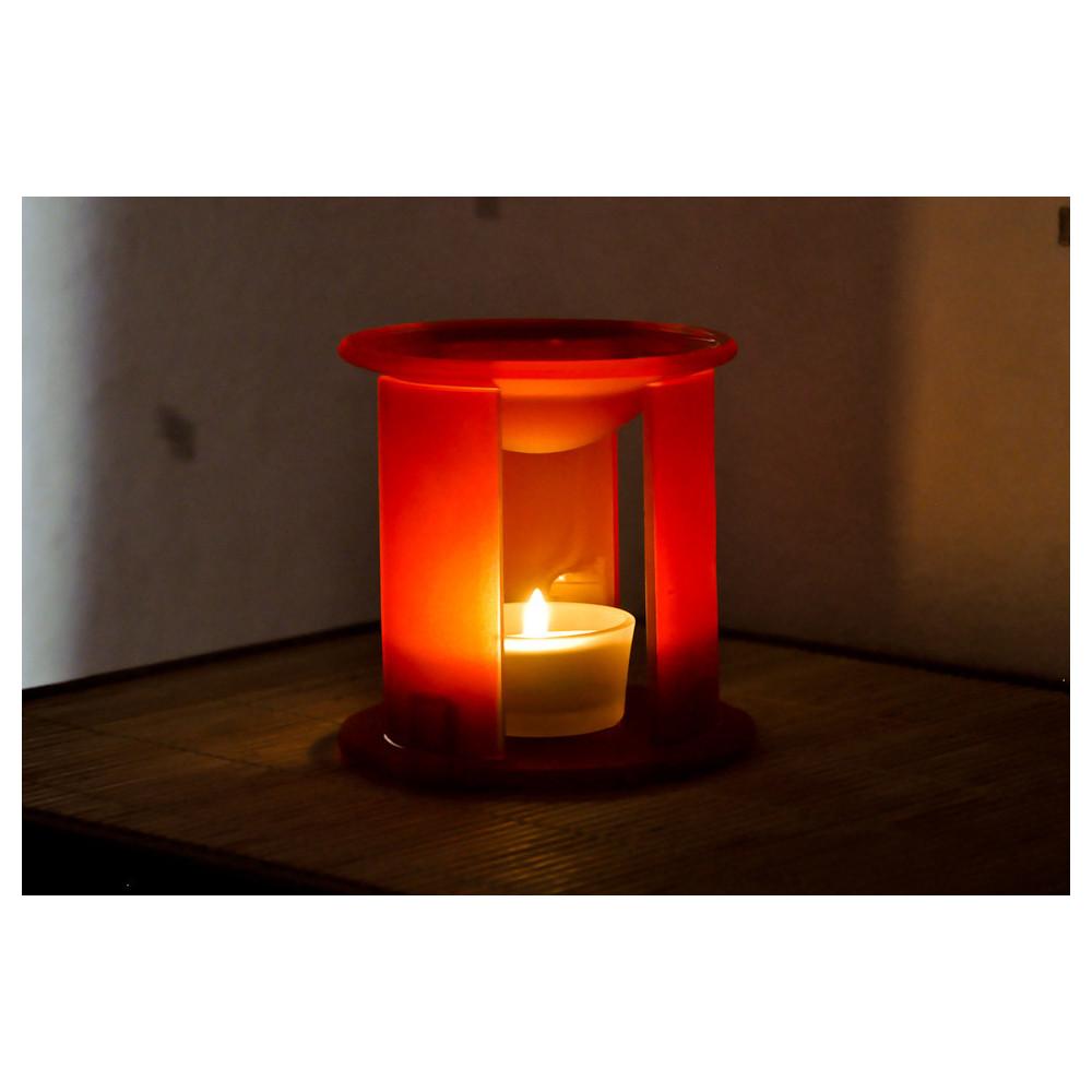 brule parfum en verre rouge