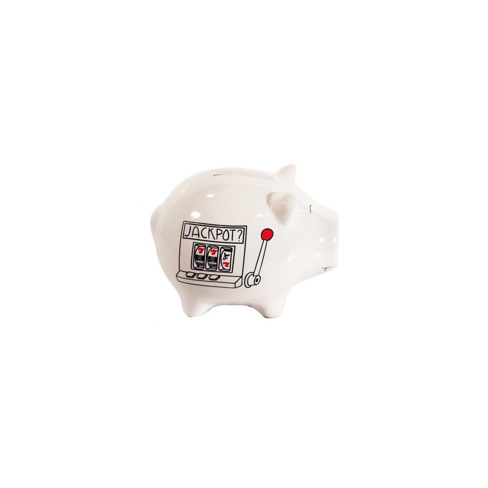 Petite Tirelire céramique cochon machine à sous Jackpot