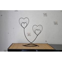 Soliflore métal et verre Coeur de Métal Double