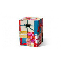 tabouret en carton motif emballage cadeau REMEMBER