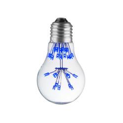 LAMPE DECO A60 E27 BLEU CHAUD ALLUMEE