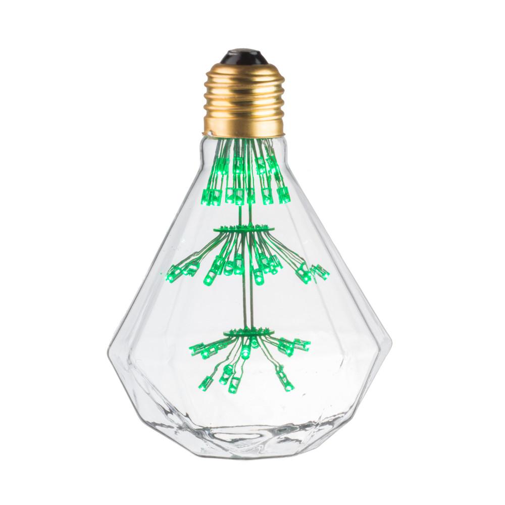 LAMPE DECO DIAMANT E27 VERT ALLUMEE
