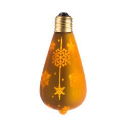 LAMPE DECO ST64 E27 DORE NEIGE ALLUMEE