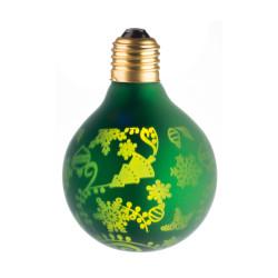 LAMPE DECO G80 E27 VERT ET SAPIN ALLUMEE