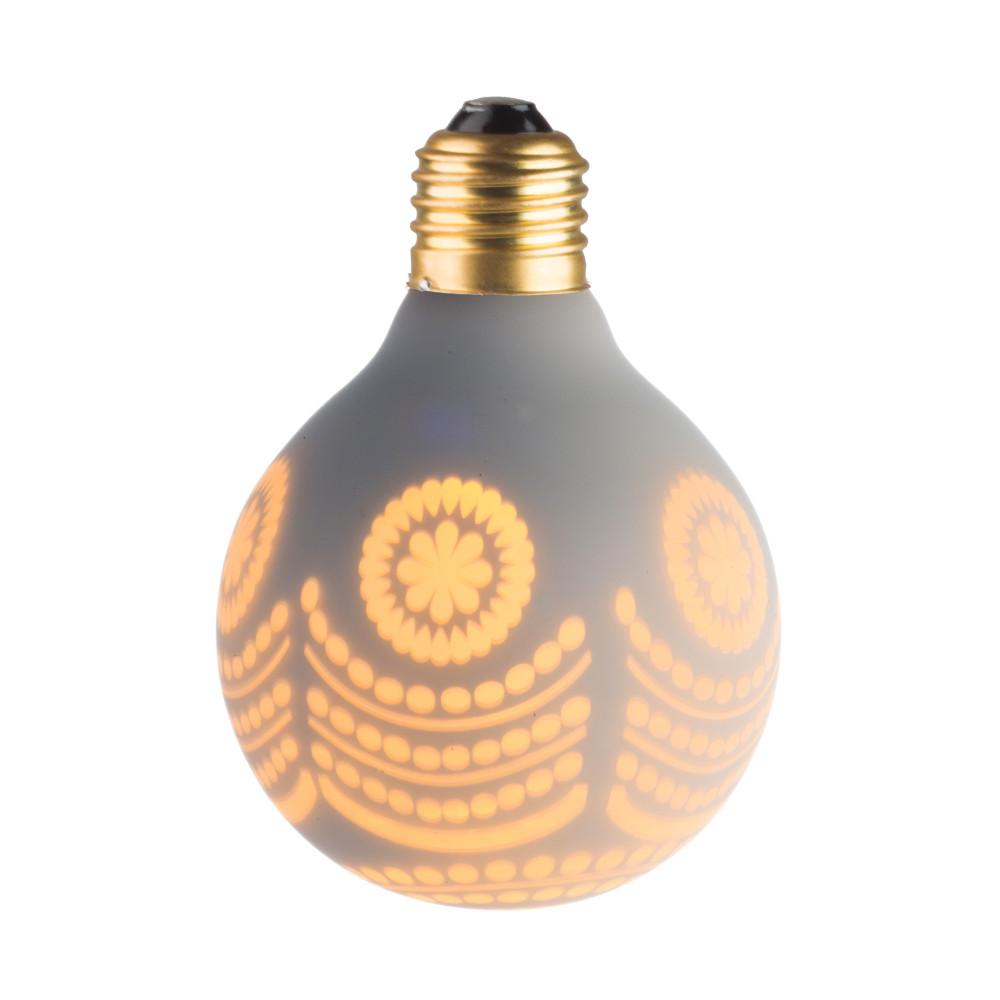 LAMPE DECO G80 E27 BLANC ET NEIGE ALLUMEE