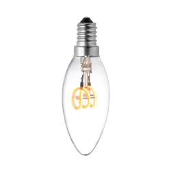 LAMPE C35 E14 LED FILAMENT SPIRALE 3W SOFT VERRE CLAIRE ALLUMEE