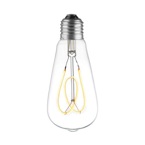 LAMPE ST64 LED FILAMENT SPIRALE FLOWER 4W VERRE CLAIRE ALLUMEE