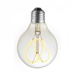LAMPE G80 LED FILAMENT SPIRALE FLOWER 4W VERRE CLAIRE ALLUMEE
