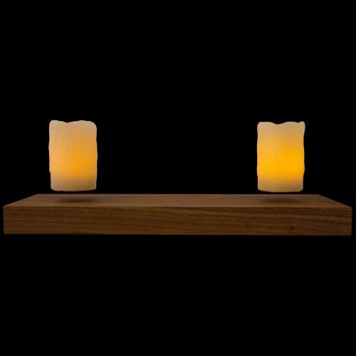 Base bois + 2 bougies LED en lévitation