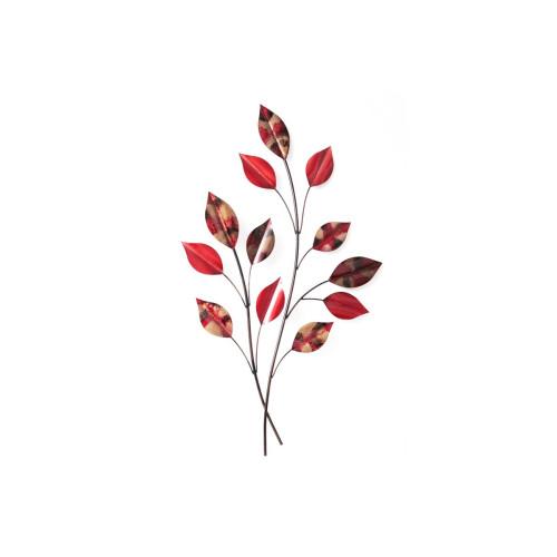 Décoration Murale Branches Feuilles rouges