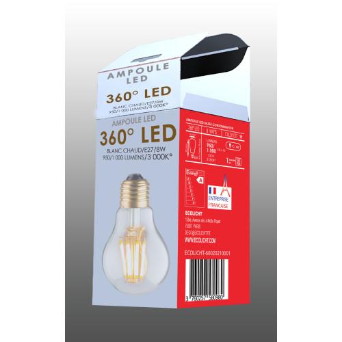 Ampoule A60 E27 filaments droits boite